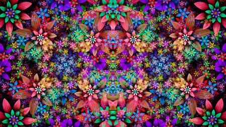 五颜六色的花卉插画极品游戏桌面精选4K+高清壁纸