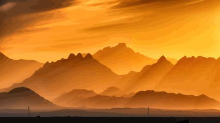 日落的山脉插画艺术极品游戏桌面精选4K+高清壁纸