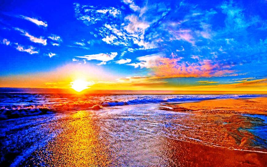 海滩上的日落高端桌面4K+高清壁纸图片