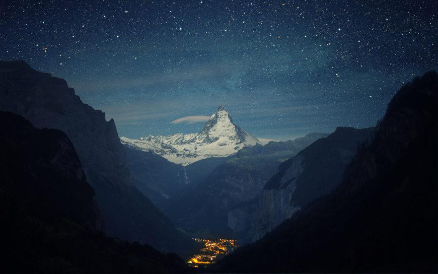 瑞士的阿尔卑斯山脉夜景高端桌面4K+高清壁纸图片