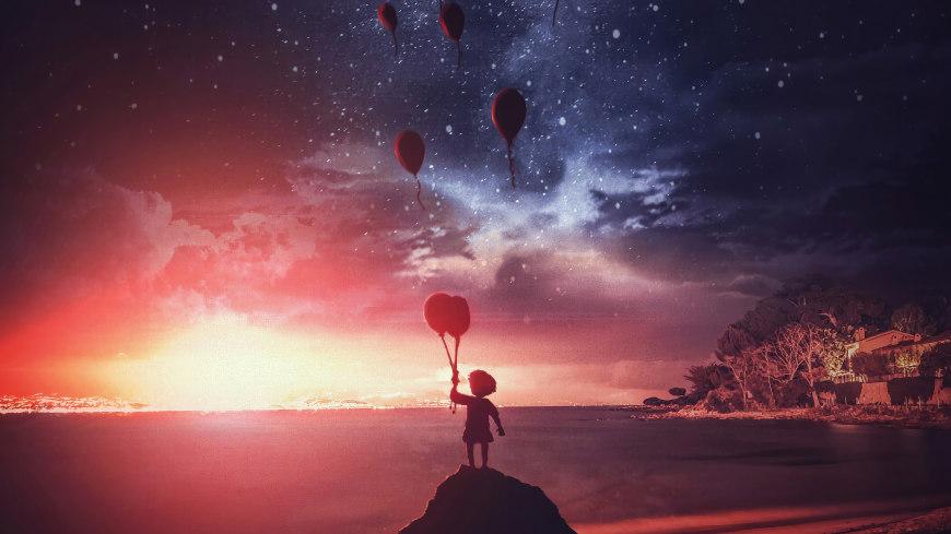 小男孩放飞气球插画极品游戏桌面精选4K+高清壁纸